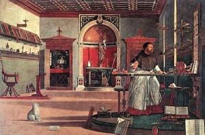 n. 1   1502 Sant'Agostino nello studio. Vittore Carpaccio. 1502 Scuola di San Giorgio degli Schiavoni. Venezia