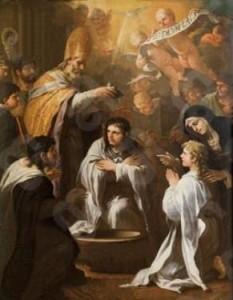 n. 1   1634 Il battesimo di Sant'Agostino. Luca Giordano. 1634 -1705. Napoli Museo Diocesano