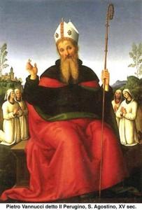 n. 2 1400 Sant-Agostino-fede-dottrina-ragione. Pietro Vannucci detto il Perugino. XV sec.