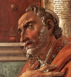 n. 2  1480 Sant'Agostino nello studio. Botticelli - 1480. Firenze. Chiesa di Ognissanti